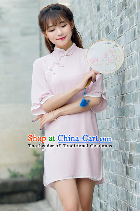 Traditional Ancient Chinese National Costume, Elegant Hanfu Mandarin Qipao Pink Dress, China Tang Suit Short Chirpaur Republic of China Cheongsam Upper Outer Garment Elegant Dress Clothing for Women
