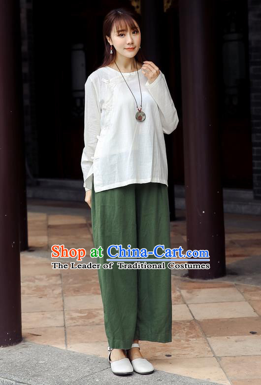 Traditional Chinese National Costume Loose Pants, Elegant Hanfu Linen Green Wide leg Pants, China Ethnic Minorities Tang Suit Folk Dance Ultra-wide-leg Trousers for Women