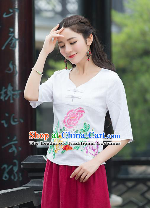 Traditional Chinese National Costume, Elegant Hanfu Embroidery Flowers White T-Shirt, China Tang Suit Republic of China Plated Buttons Chirpaur Blouse Cheong-sam Upper Outer Garment Qipao Shirts Clothing for Women