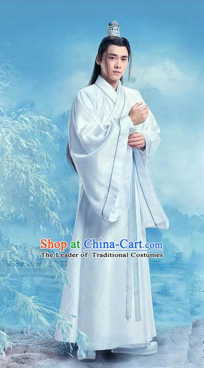 Traditional Ancient Chinese Elegant Swordsman Costume, Chinese Jiang hu Nobility Childe Dress, Cosplay Chinese Television Drama Jade Dynasty Qing Yun Faction Taoist Priest Disciple Hanfu Clothing for Men
