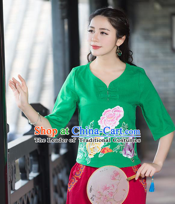 Traditional Chinese National Costume, Elegant Hanfu Embroidery Flowers Green T-Shirt, China Tang Suit Republic of China Plated Buttons Chirpaur Blouse Cheong-sam Upper Outer Garment Qipao Shirts Clothing for Women