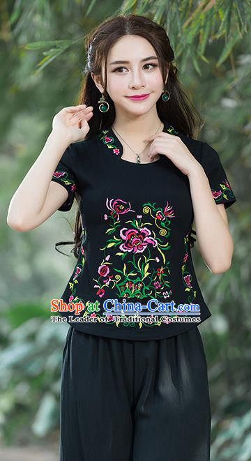 Traditional Chinese National Costume, Elegant Hanfu Embroidery Flowers Stand Collar Black T-Shirt, China Tang Suit Republic of China Chirpaur Blouse Cheong-sam Upper Outer Garment Qipao Shirts Clothing for Women