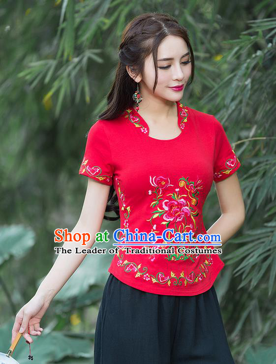 Traditional Chinese National Costume, Elegant Hanfu Embroidery Flowers Stand Collar Red T-Shirt, China Tang Suit Republic of China Chirpaur Blouse Cheong-sam Upper Outer Garment Qipao Shirts Clothing for Women