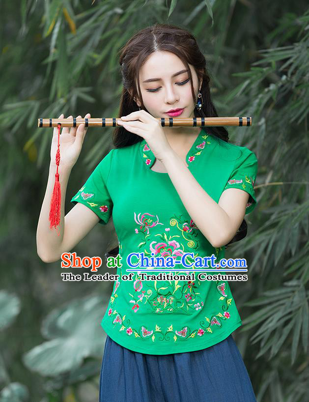 Traditional Chinese National Costume, Elegant Hanfu Embroidery Flowers Stand Collar Green T-Shirt, China Tang Suit Republic of China Chirpaur Blouse Cheong-sam Upper Outer Garment Qipao Shirts Clothing for Women
