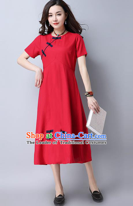Traditional Ancient Chinese National Costume, Elegant Hanfu Mandarin Qipao Slant Opening Red Dress, China Tang Suit Chirpaur Republic of China Cheongsam Upper Outer Garment Elegant Dress Clothing for Women