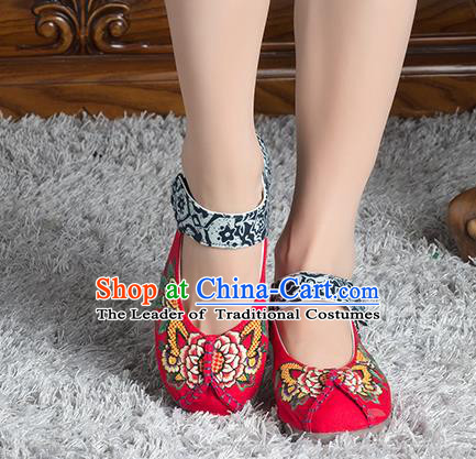 Traditional Chinese Shoes, China Handmade Linen Embroidered Flowers Red Shoes, China Ancient Cloth Shoes for Women