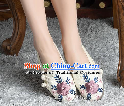 Traditional Chinese Shoes, China Handmade Linen Embroidered Plated Button White Shoes, China Ancient Cloth Shoes for Women
