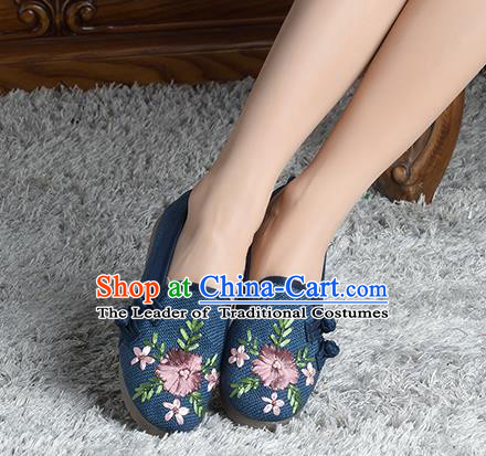Traditional Chinese Shoes, China Handmade Linen Embroidered Plated Button Navy Shoes, China Ancient Cloth Shoes for Women