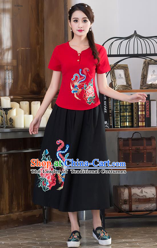 Traditional Chinese National Costume, Elegant Hanfu Embroidery Phoenix Flowers Red T-Shirt, China Tang Suit Republic of China Chirpaur Blouse Cheong-sam Upper Outer Garment Qipao Shirts Clothing for Women