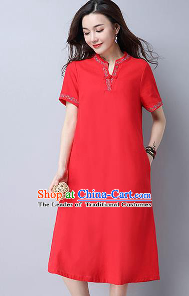 Traditional Ancient Chinese National Costume, Elegant Hanfu Mandarin Qipao Linen Embroidery Red Dress, China Tang Suit Chirpaur Republic of China Cheongsam Upper Outer Garment Elegant Dress Clothing for Women