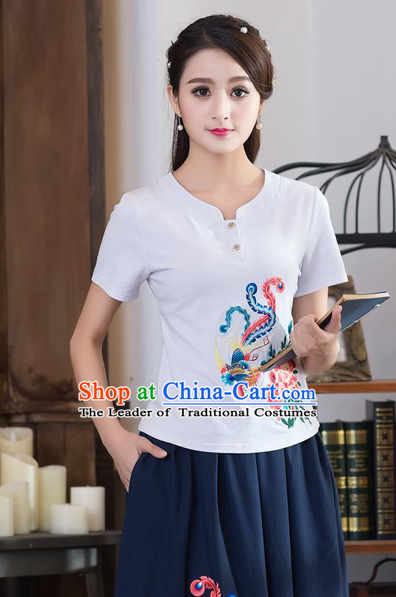 Traditional Chinese National Costume, Elegant Hanfu Embroidery Phoenix Flowers White T-Shirt, China Tang Suit Republic of China Chirpaur Blouse Cheong-sam Upper Outer Garment Qipao Shirts Clothing for Women