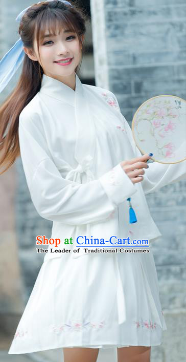 Traditional Ancient Chinese Costume, Elegant Hanfu Clothing Embroidered Slant Opening White Blouse, China Tang Dynasty Princess Elegant Blouse for Women