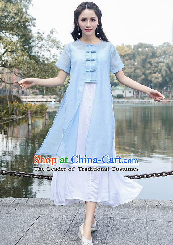 Traditional Ancient Chinese National Costume, Elegant Hanfu Blue Cardigan Coat and Singlet Complete Set, China Tang Suit Plated Buttons Cape and Dress, Upper Outer Garment Dust Coat Cloak for Women