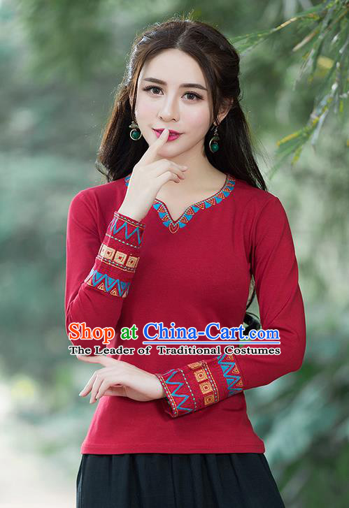 Traditional Chinese National Costume, Elegant Hanfu Embroidery Red T-Shirt, China Tang Suit National Minority Blouse Cheong-sam Upper Outer Garment Qipao Shirts Clothing for Women