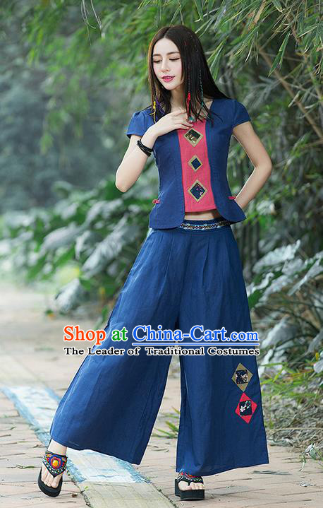 Traditional Chinese National Costume, Elegant Hanfu Embroidery Navy T-Shirt and Loose Pants Complete Set, China Tang Suit Plated Buttons Blouse and Dockers for Women