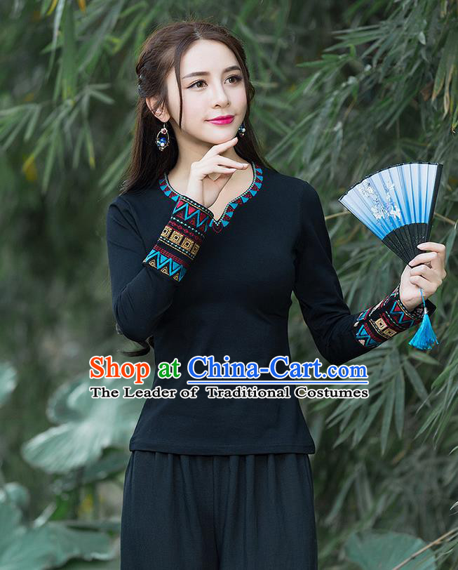 Traditional Chinese National Costume, Elegant Hanfu Embroidery Black T-Shirt, China Tang Suit National Minority Blouse Cheong-sam Upper Outer Garment Qipao Shirts Clothing for Women