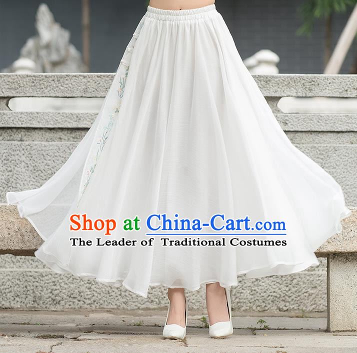 Traditional Ancient Chinese National Pleated Skirt Costume, Elegant Hanfu Hand Painting Peach Blossom Long White Dress, China Tang Suit Bust Skirt for Women