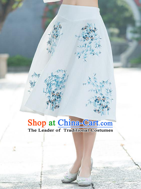 Traditional Ancient Chinese National Pleated Skirt Costume, Elegant Hanfu Embroidery White Dress, China Tang Suit Big Swing Bust Skirt for Women