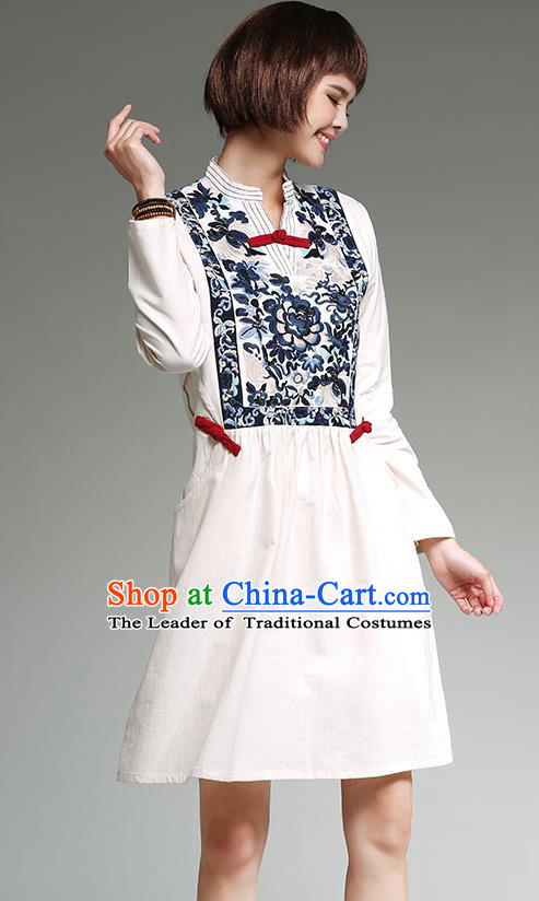 Traditional Ancient Chinese National Costume, Elegant Hanfu Mandarin Qipao Patch Embroidery Linen White Dress, China Tang Suit Chirpaur Republic of China Cheongsam Upper Outer Garment Elegant Dress Clothing for Women