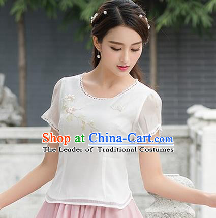 Traditional Chinese National Costume, Elegant Hanfu Embroidery Organza T-Shirt, China Tang Suit Republic of China Plated Buttons Chirpaur Blouse Cheong-sam Upper Outer Garment Qipao Shirts Clothing for Women
