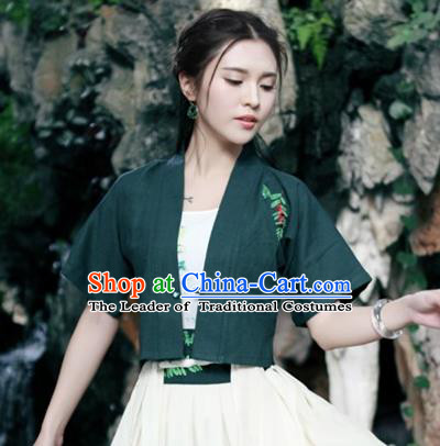 Traditional Ancient Chinese National Costume, Elegant Hanfu Cardigan Coat, China Tang Suit Plated Buttons Embroider Cape, Upper Outer Garment Jacket Cloak Clothing for Women