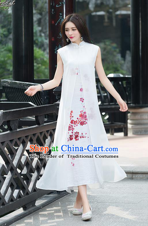 Traditional Ancient Chinese National Costume, Elegant Hanfu Mandarin Qipao Linen Hand Painting Plum Blossom White Dress, China Tang Suit Chirpaur Republic of China Cheongsam Upper Outer Garment Elegant Dress Clothing for Women