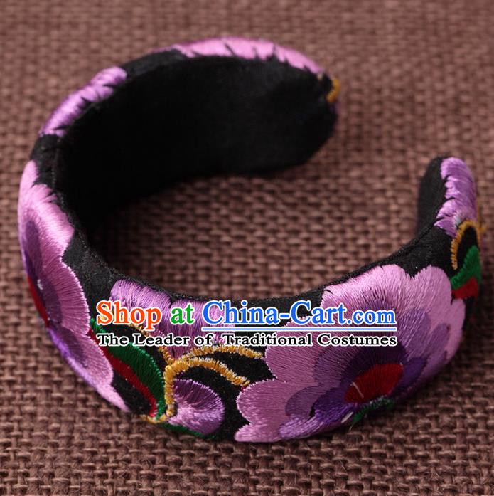Traditional Chinese Miao Nationality Crafts, Hmong Handmade Miao Silver Embroidery Purple Bracelet, Miao Ethnic Minority Bangle Accessories for Women