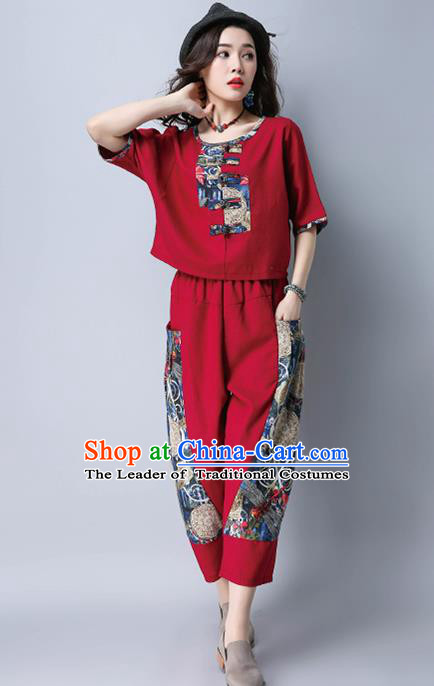Traditional Chinese National Costume, Elegant Hanfu Embroidery Red T-Shirt and Loose Pants Complete Set, China Tang Suit Plated Buttons Blouse and Dockers for Women