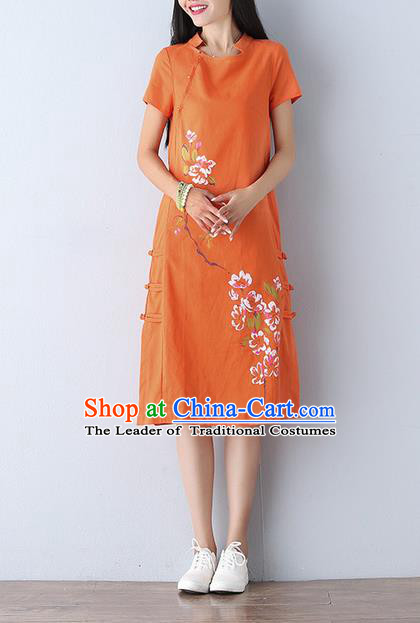 Traditional Ancient Chinese National Costume, Elegant Hanfu Mandarin Qipao Linen Printing Orange Dress, China Tang Suit Chirpaur Republic of China Cheongsam Upper Outer Garment Elegant Dress Clothing for Women