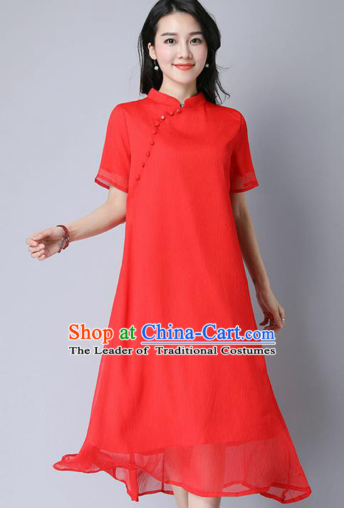 Traditional Ancient Chinese National Costume, Elegant Hanfu Mandarin Qipao Slant Opening Red Dress, China Tang Suit Plated Buttons Chirpaur Republic of China Cheongsam Upper Outer Garment Elegant Dress Clothing for Women