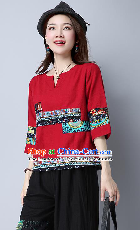 Traditional Chinese National Costume, Elegant Hanfu Round Collar Red T-Shirt, China Tang Suit Republic of China Chirpaur Blouse Cheong-sam Upper Outer Garment Qipao Shirts Clothing for Women