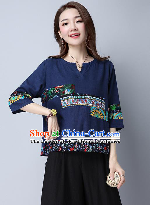 Traditional Chinese National Costume, Elegant Hanfu Round Collar Navy T-Shirt, China Tang Suit Republic of China Chirpaur Blouse Cheong-sam Upper Outer Garment Qipao Shirts Clothing for Women