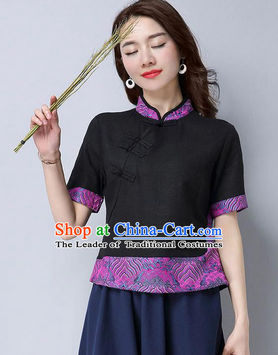 Traditional Chinese National Costume, Elegant Hanfu Joint Embroidery Flowers Slant Opening Black Shirt, China Tang Suit Republic of China Plated Buttons Chirpaur Blouse Cheong-sam Upper Outer Garment Qipao Shirts Clothing for Women