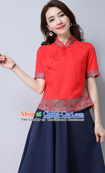 Traditional Chinese National Costume, Elegant Hanfu Joint Embroidery Flowers Slant Opening Red Shirt, China Tang Suit Republic of China Plated Buttons Chirpaur Blouse Cheong-sam Upper Outer Garment Qipao Shirts Clothing for Women