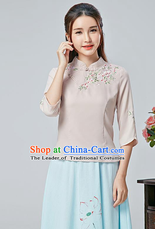 Traditional Chinese National Costume, Elegant Hanfu Embroidery Flowers Slant Opening Pink Blouses, China Tang Suit Republic of China Plated Buttons Chirpaur Blouse Cheong-sam Upper Outer Garment Qipao Shirts Clothing for Women