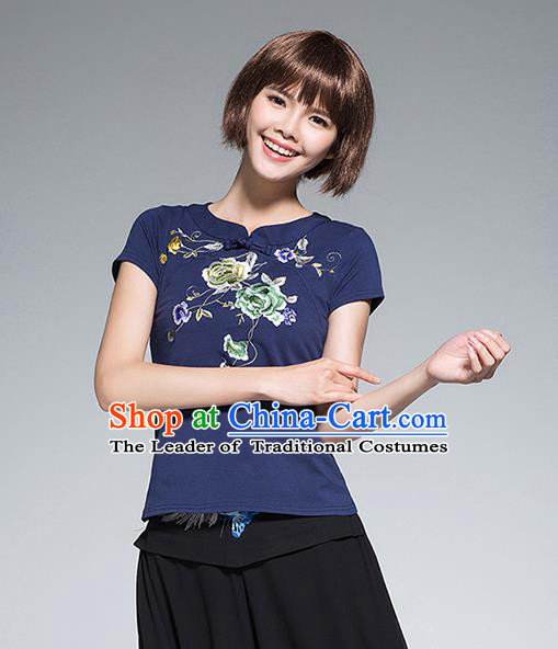 Traditional Chinese National Costume, Elegant Hanfu Embroidery Flowers Blue T-Shirt, China Tang Suit Plated Buttons Chirpaur Blouse Cheong-sam Upper Outer Garment Qipao Shirts Clothing for Women