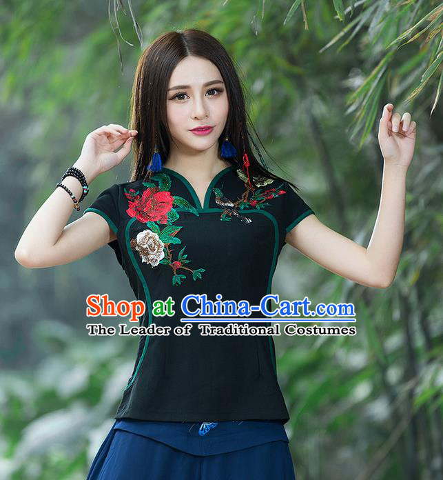Traditional Chinese National Costume, Elegant Hanfu Embroidery Flowers Black T-Shirt, China Tang Suit Republic of China Chirpaur Blouse Cheong-sam Upper Outer Garment Qipao Shirts Clothing for Women