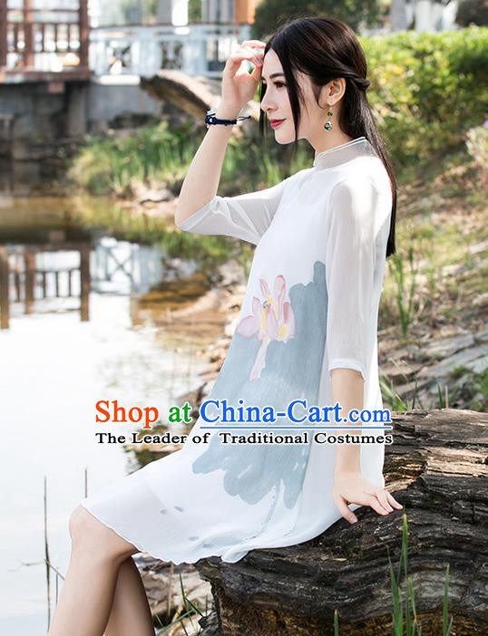 Traditional Ancient Chinese National Costume, Elegant Hanfu Mandarin Qipao Linen Hand Painting Lotus White Dress, China Tang Suit Chirpaur Republic of China Cheongsam Upper Outer Garment Elegant Dress Clothing for Women