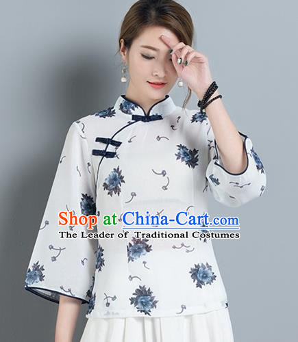 Traditional Chinese National Costume, Elegant Hanfu Stand Collar Slant Opening Shirt, China Tang Suit Republic of China Plated Buttons Chirpaur Blouse Cheong-sam Upper Outer Garment Qipao Shirts Clothing for Women