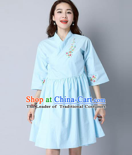 Traditional Ancient Chinese National Costume, Elegant Hanfu Mandarin Qipao Linen Hand Painting Blue Dress, China Tang Suit Cheongsam Upper Outer Garment Elegant Dress Clothing for Women