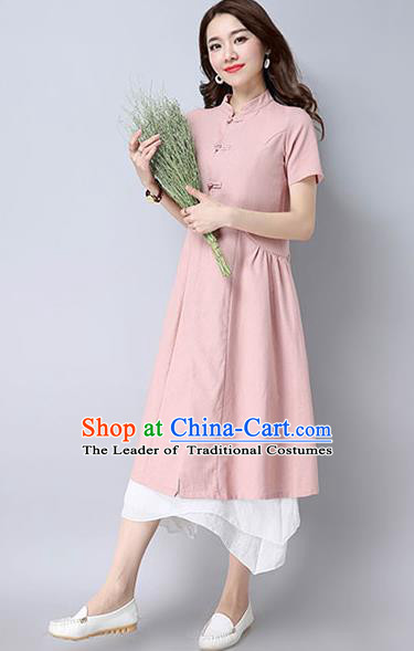 Traditional Ancient Chinese National Costume, Elegant Hanfu Stand Collar Pink Coat Robes, China Tang Suit Plated Buttons Cape, Upper Outer Garment Dust Coat Clothing for Women