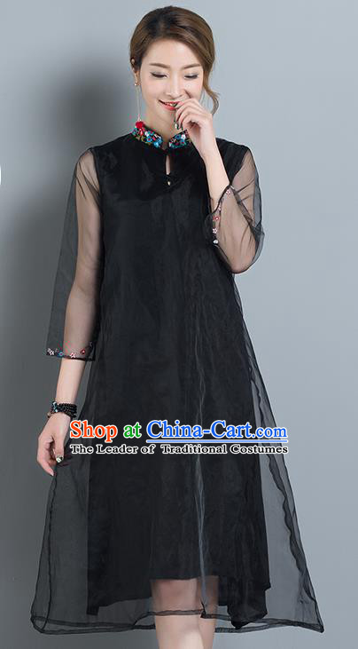 Traditional Ancient Chinese National Costume, Elegant Hanfu Mandarin Qipao Organza Black Dress, China Tang Suit Chirpaur Cheongsam Upper Outer Garment Elegant Dress Clothing for Women