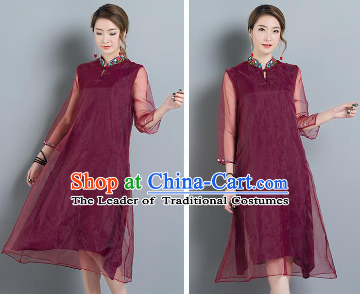 Traditional Ancient Chinese National Costume, Elegant Hanfu Mandarin Qipao Organza Red Dress, China Tang Suit Chirpaur Cheongsam Upper Outer Garment Elegant Dress Clothing for Women