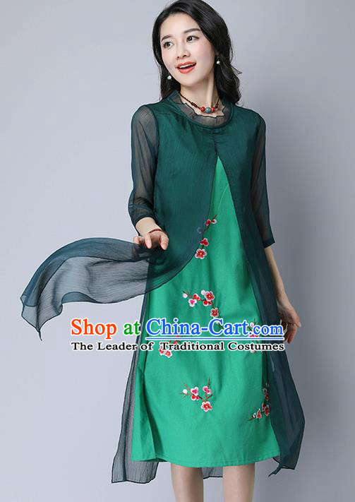 Traditional Ancient Chinese National Costume, Elegant Hanfu Mandarin Qipao Embroidery Green Dress, China Tang Suit Chirpaur Upper Outer Garment Elegant Dress Clothing for Women