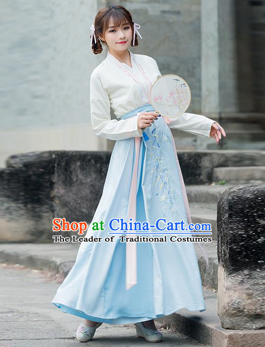 Traditional Ancient Chinese Costume, Elegant Hanfu Clothing Embroidered Slant Opening Blouse and Dress, China Ming Dynasty Princess Elegant Blouse and Skirt Complete Set for Women