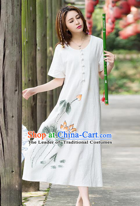 Traditional Ancient Chinese National Costume, Elegant Hanfu Mandarin Qipao Hand Painting Lotus Dress, China Tang Suit Chirpaur Upper Outer Garment Elegant Dress Clothing for Women