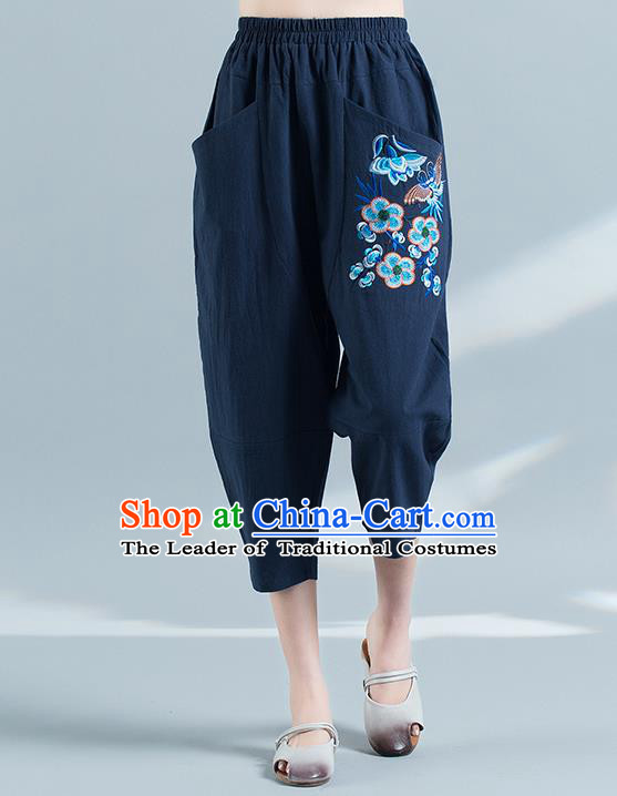 Traditional Chinese National Costume Plus Fours, Elegant Hanfu Embroidered Folk Dance Navy Bloomers, China Ethnic Minorities Tang Suit Pantalettes for Women