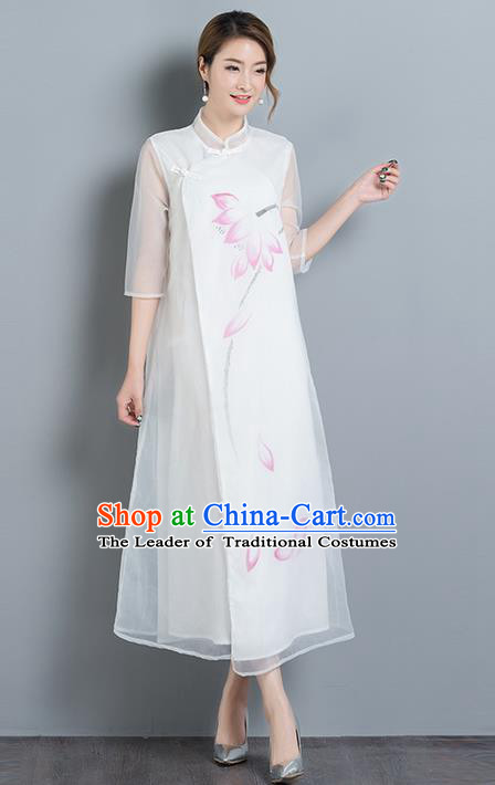 Traditional Ancient Chinese National Costume, Elegant Hanfu Mandarin Qipao Organza Dress, China Tang Suit Chirpaur Upper Outer Garment Elegant Dress Clothing for Women