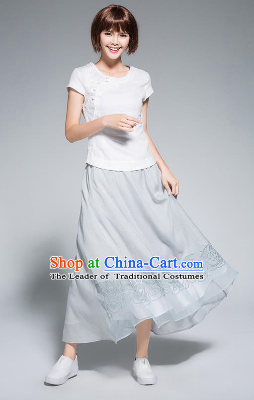 Traditional Ancient Chinese National Pleated Skirt Costume, Elegant Hanfu Chiffon Embroidery Long Blue Dress, China Tang Suit Big Swing Bust Skirt for Women