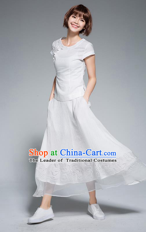Traditional Ancient Chinese National Pleated Skirt Costume, Elegant Hanfu Chiffon Embroidery Long White Dress, China Tang Suit Big Swing Bust Skirt for Women
